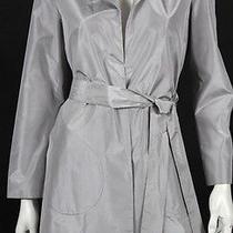 Jil Sander Metallic Silver Silk Taffeta Belted Coat 34 Photo