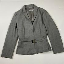 Jil Sander Sz 38 Us 8 Gray Wool Cashmere Blend Button Down Belted Jacket Blazer Photo