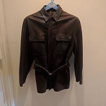 Jill Sander Brown Leather Men's Jacket Size 42 Photo