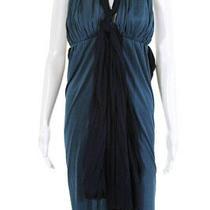 Jill Stuart Collection Womens Sleeveless Plunge Neck Belted Dress Blue Size 2 Photo