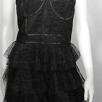 Jill Stuart Lace Corset Cocktail Dress 12 Black Tiered Skirt Spaghetti Strap Nwt Photo