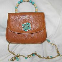 Jill Stuart  Ny Tan Tooled Leather Turquoise Stone Handbag Rare Unique  Photo