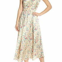 Jill Stuart Womens a-Line Dress Yellow Size 4 Floral Charmeuse Midi 268 067 Photo