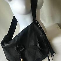 Jimmi Wz 1000 Large Black Leather Fringe Western Boho Bag Hobo Messenger Photo