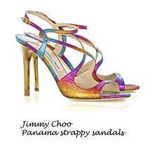 Jimmy Choo 100%Auth New Panama Rainbow Snakeskin Sandals Slingbacks 7 M 37.5  Photo
