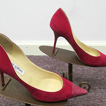 Jimmy Choo Abel Hot Pink Suede Heels W/ Snake Skin at Toe & Lacquered Heel - 38 Photo
