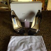 Jimmy Choo Aqua Petrol Patent Black Strappy Heels Size 38 1/2  Photo