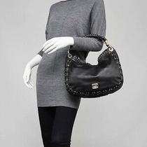 Jimmy Choo Black Leather Corset Stitch Sky Hobo Bag Photo