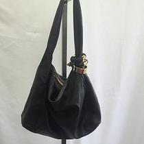 Jimmy Choo Black Leather Gold Rings Hobo Purse Handbag Shoulder Bag Photo