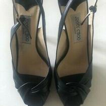 Jimmy Choo Black Slingback Platform Pumps Leather Heel Shoes Size 38.5 Us 8 Photo