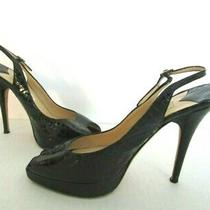 Jimmy Choo Clue Black Stamped Patent Peep Toe Slingback Platform Heels Size 9  Photo