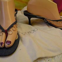 Jimmy Choo Denim Kitten Heels Flip Flop Style W/gold Tone Rings sz38.5 Photo