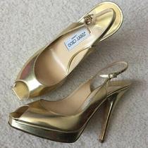 Jimmy Choo Gold Peep Toe Slingback Sandal Heels 40 Photo