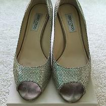 Jimmy Choo Isabel Wedding Shoes Size 39.5 / Size 9 Champagne Glitter Photo