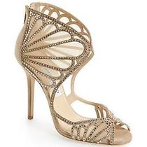 Jimmy Choo Kole Sandal Nude Suede Leather Glimmering Crystals Wedding Shoes 39 Photo