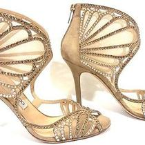 Jimmy Choo Kole Sandal Nude Suede Leather Glimmering Crystals Wedding Shoes 37.5 Photo