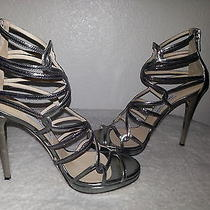 Jimmy Choo Lake Strappy Sandals Metallic Silver Ankle Zip Wrap Caged Size-39.5 Photo