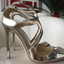Jimmy Choo Lance 115 Mirror Silver Leather Sandals 39 Nib Wedding Shoes Photo