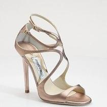 Jimmy Choo Lance 37.5 Rose Gold Wedding Shoes Strappy 7.5 Leather Lang 850  Photo