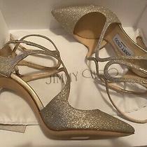 Jimmy Choo Lancer 100 Platinum Ice Glitter Pointy Toe Strappy Heel 37 850 Photo