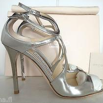 Jimmy Choo Lang 100 Mirror Silver Leather Sandals 39.5 Nib Wedding Shoes Photo