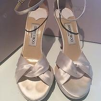 Jimmy Choo London Macy White Silk Satin Wedding Shoes Size Us 7.5  It 37.5 Photo