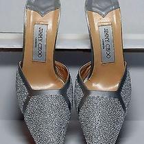 Jimmy Choo London White Beaded Glitter  Mules Slides Wedding Shoes Sz 38 Photo