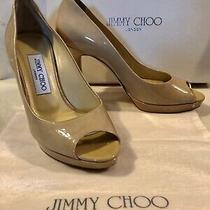 Jimmy Choo Luna Patent Leather Nude Peep Toe Platform Heels Size 37 / Us 6.5 Photo