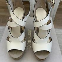Jimmy Choo Nate 120 Wedge Sandal Latte Ivory Leather 37. Gently Used. With Box. Photo