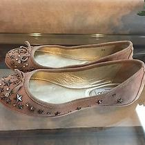 Jimmy Choo Natural Blush Suede Studded Crystal Willow Ballet Flats Shoes 35  Photo