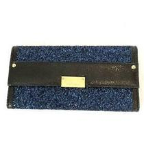 Jimmy Choo Navy Glitter and Leather Reese Wallet Clutch Retail 625 Photo
