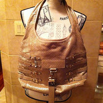 Jimmy Choo New Bardia Perforated Metallic Champagne Leather Bag Photo