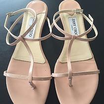 Jimmy Choo Nude Blush Patent Leather Thong Flat Sandal Sz 40 9 Photo