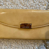 Jimmy Choo Patent Leather Nude Tan Clutch Evening Photo