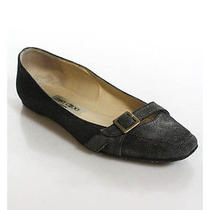 Jimmy Choo Pewter Metallic Loafer Style Leather Flats Sz 37 7 Photo