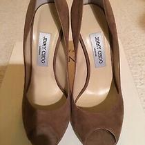 Jimmy Choo Quiet Chestnut Brown Suede Peep Toe Pumps 120mm Size 38 Photo