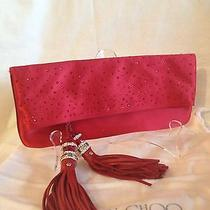 Jimmy Choo Red Satin Clutch. New  Must Have Photo