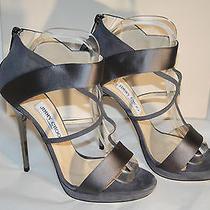 Jimmy Choo Silver Grey Satin Strappy Stiletto Wedding Shoe Sandals 39 New in Box Photo