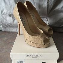 Jimmy Choo Stamped Moc Croc Nude Crown Pumps. Sz 40.  Photo