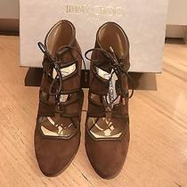 Jimmy Choo Suede Brown Camel Like Unused Authentic High Heel Lace Up 37.5 / 7 Photo