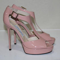 Jimmy Choo Tribe Blush Pink Patent T-Strap Platform Sandal Shoes Sz 7 Us / 37 Photo