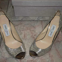 Jimmy Choo Wedge Pumps  Shoes 37 Usa Sz 7 Silver and Gold Photo