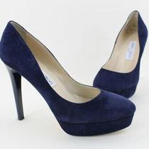Jimmy Choo Women's Navy Suede Platform Pump Heel Shoe Size 37.5 7.5 Photo