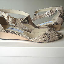 Jimmy Choo Womens Shoes Sandals Slides Treat Snakeskin Wedge Sz 37 / 7 Nib Photo