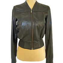 Jimmy Choo X h&m Women's Kidskin Black Leather Bomber Motorcycle Jacket Us2 Photo