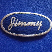 Jimmy Name Tag Vtg 1970s Work Jean Uniform Shirt T Bag Jacket Cap Hat Blue Patch Photo