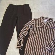 Jm Collection Sz 16 Brown Dress Pants Hemmed & Christie & Jill Sz 16w Lot J154 Photo