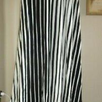 Jm Fleurette Usa Made  Black/ White  Stripe Jersey Long Pull-on  Skirt  Nwt Sz M Photo