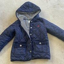 Jo Jo Maman Bebe Blue Quilted Lined Jacket 2-3 Years Spring Hood Stripe Lining Photo