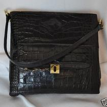 Joan and David Black Leather Purse Croc Embossed Crocodile Shoulder Bag Shopper Photo